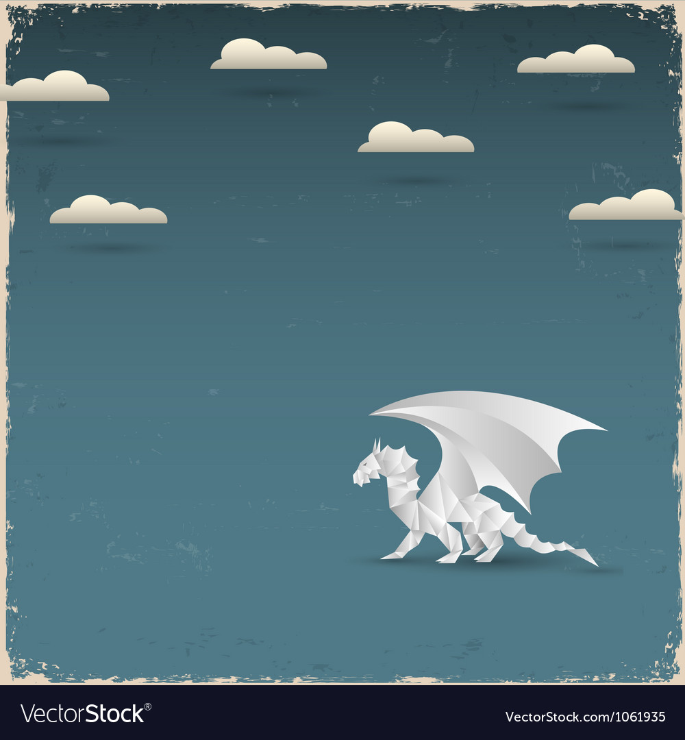 Origami dragon on grunge background vector | Price: 1 Credit (USD $1)