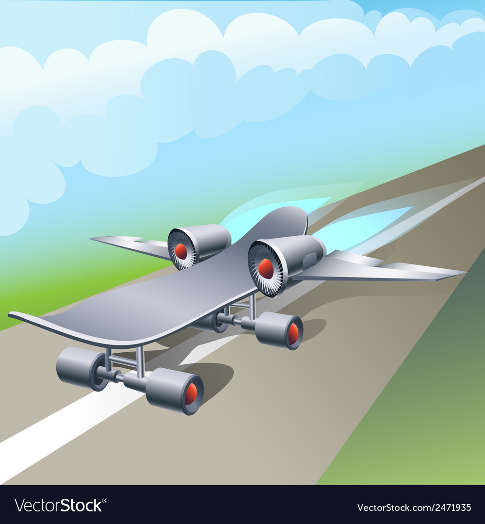 Rocket powered skateboard vector | Price: 1 Credit (USD $1)