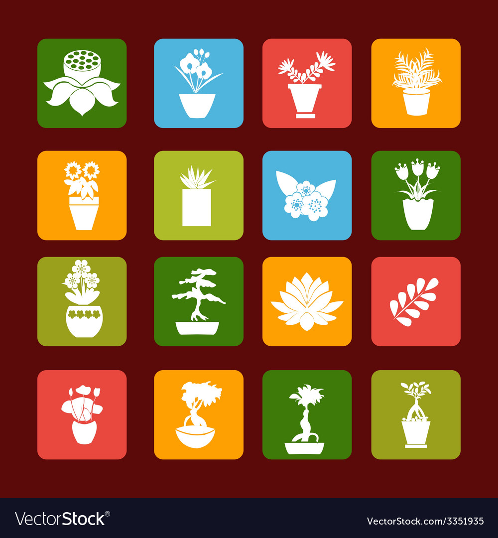 Set icons of plant silhouette collection vector | Price: 1 Credit (USD $1)