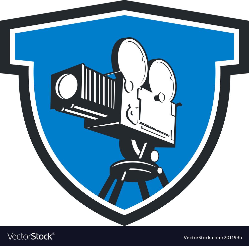 Vintage film movie camera shield retro vector | Price: 1 Credit (USD $1)