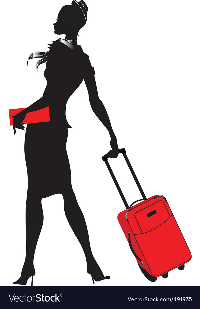 Young womenstewardess silhouette vector | Price: 1 Credit (USD $1)