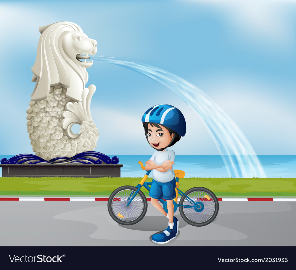 A young biker near the statue of merlion vector | Price: 1 Credit (USD $1)