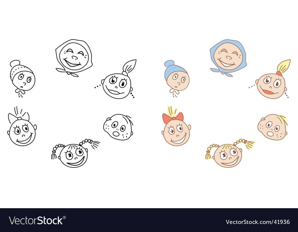 Cartoon faces vector | Price: 1 Credit (USD $1)