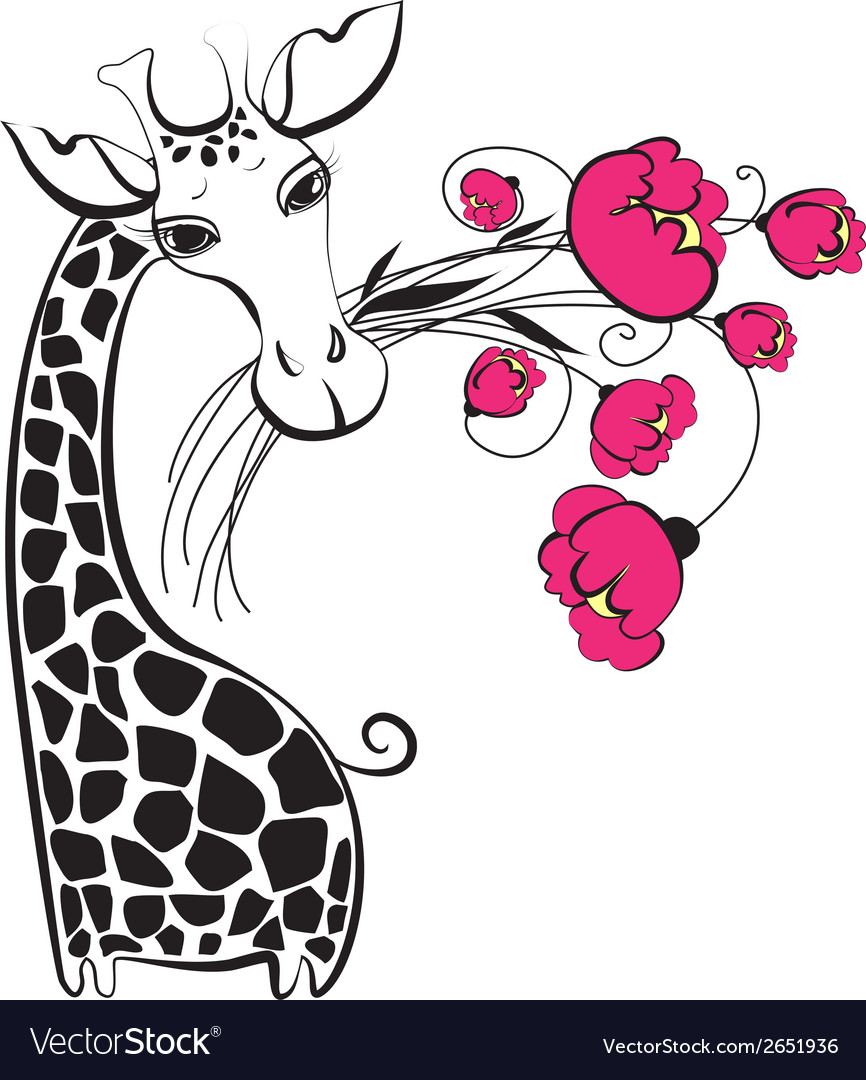 Cute giraffe with bunch of flowers vector | Price: 1 Credit (USD $1)