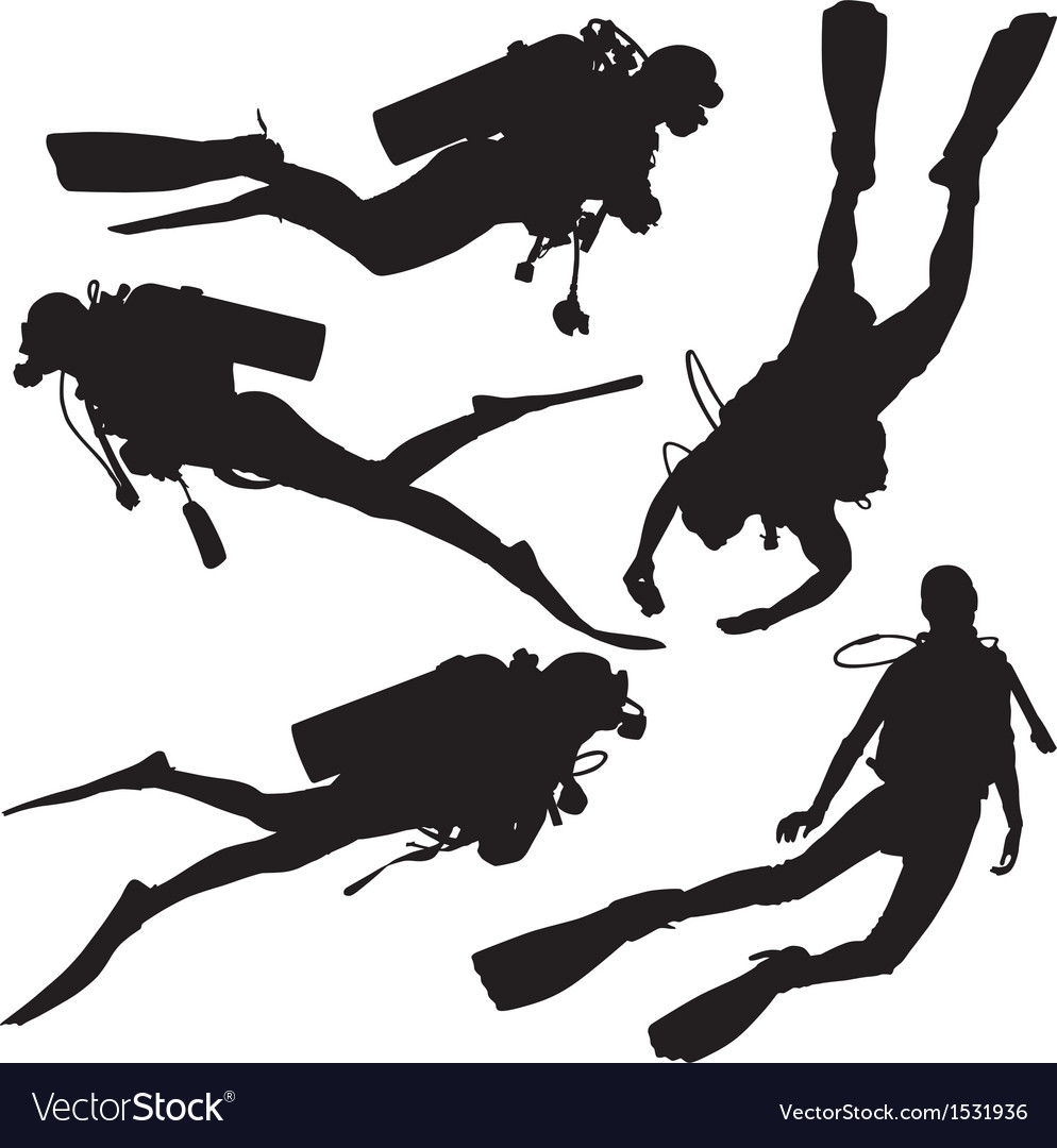 Diving silhouette vector | Price: 1 Credit (USD $1)