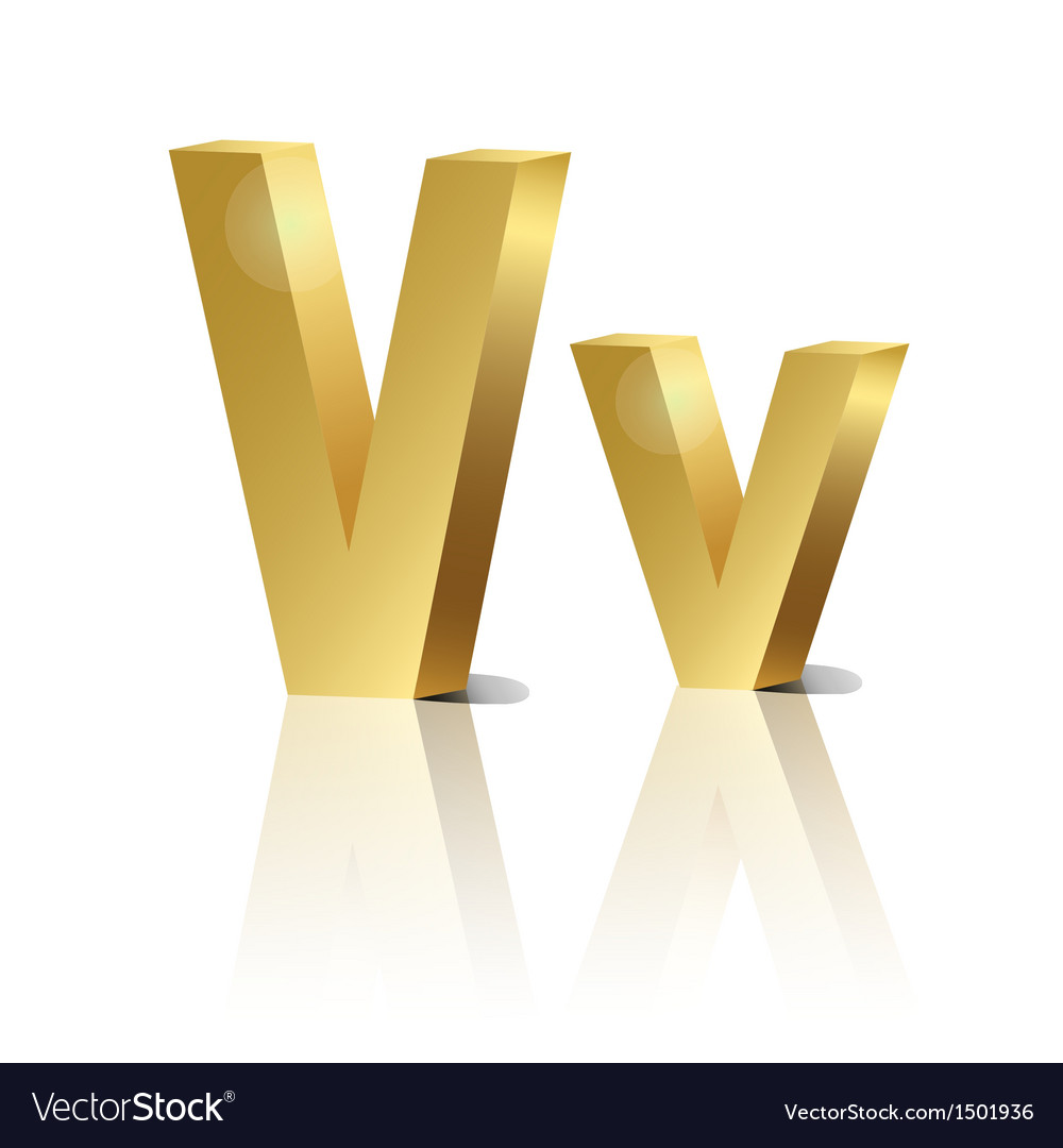Golden letter v vector | Price: 1 Credit (USD $1)