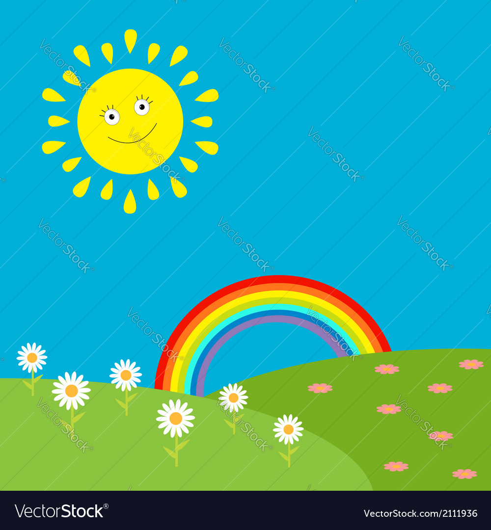 Landscape with sun rainbow and flowers vector | Price: 1 Credit (USD $1)