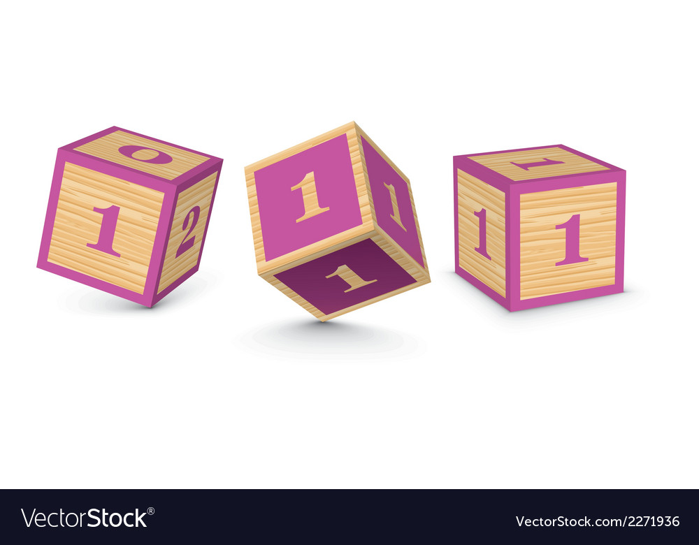 Number 1 wooden alphabet blocks vector | Price: 1 Credit (USD $1)