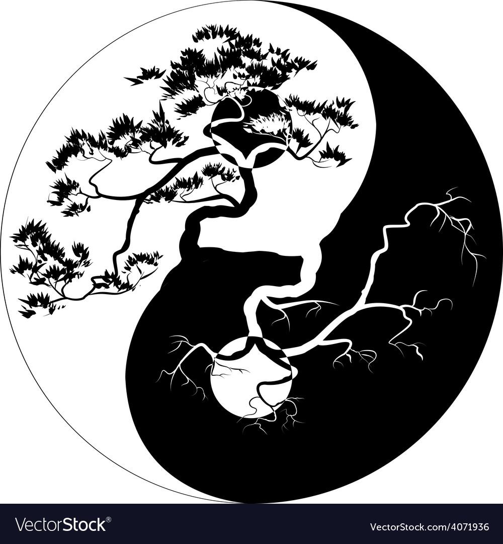 Yin yang bonsai vector | Price: 1 Credit (USD $1)