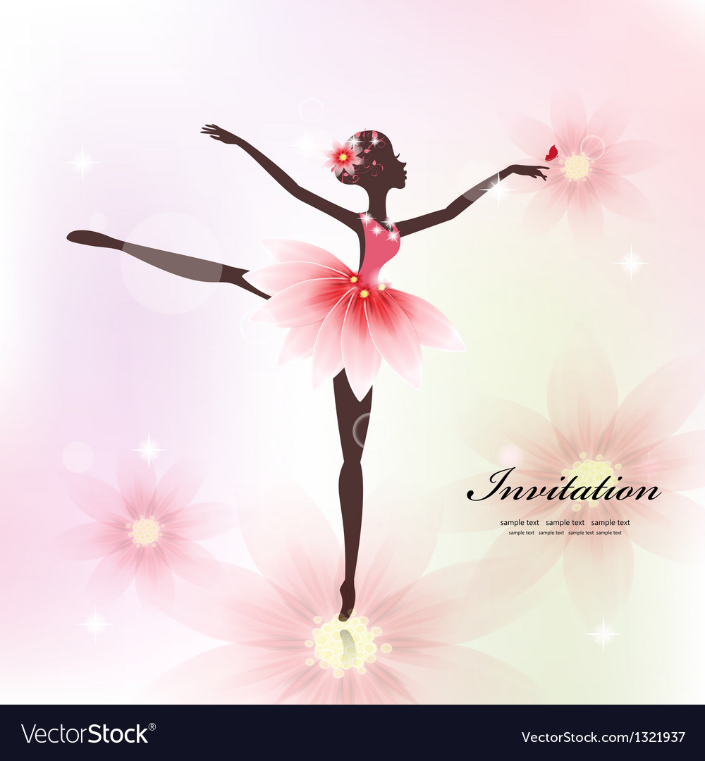 Ballerina invitation card vector | Price: 1 Credit (USD $1)