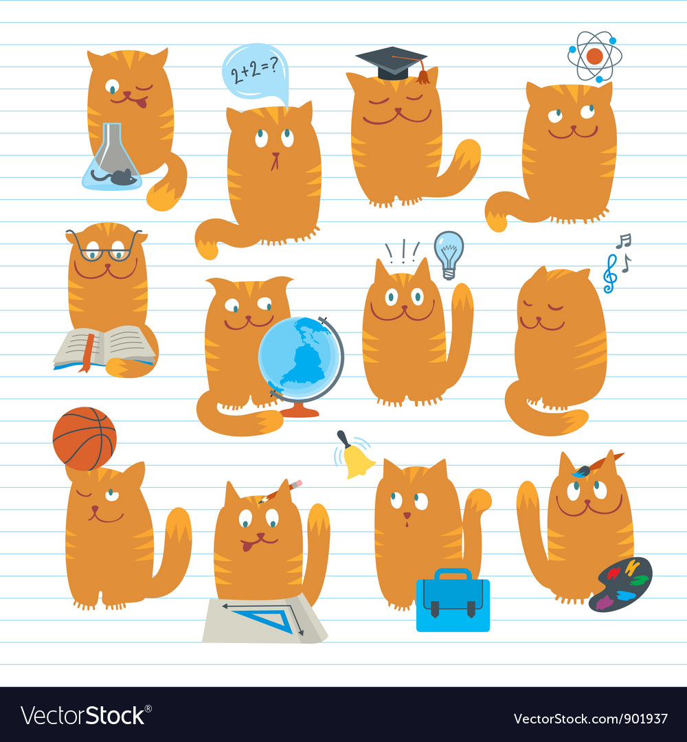 Cats studing school subjects vector | Price: 3 Credit (USD $3)