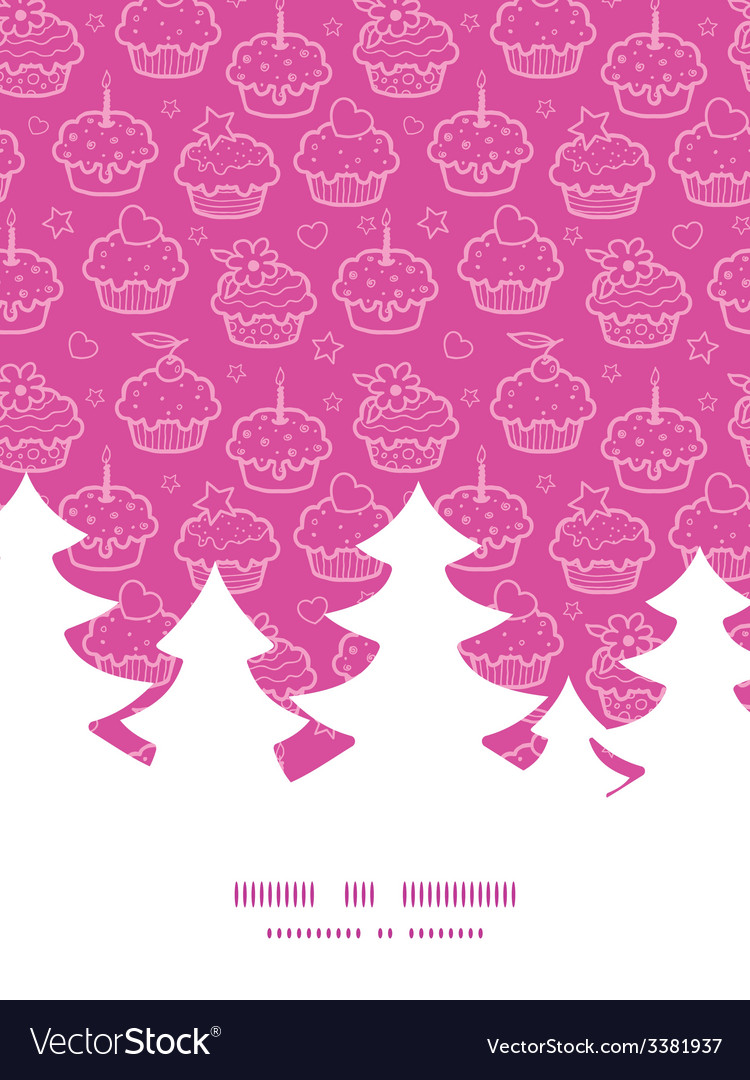 Colorful cupcake party christmas tree silhouette vector | Price: 1 Credit (USD $1)