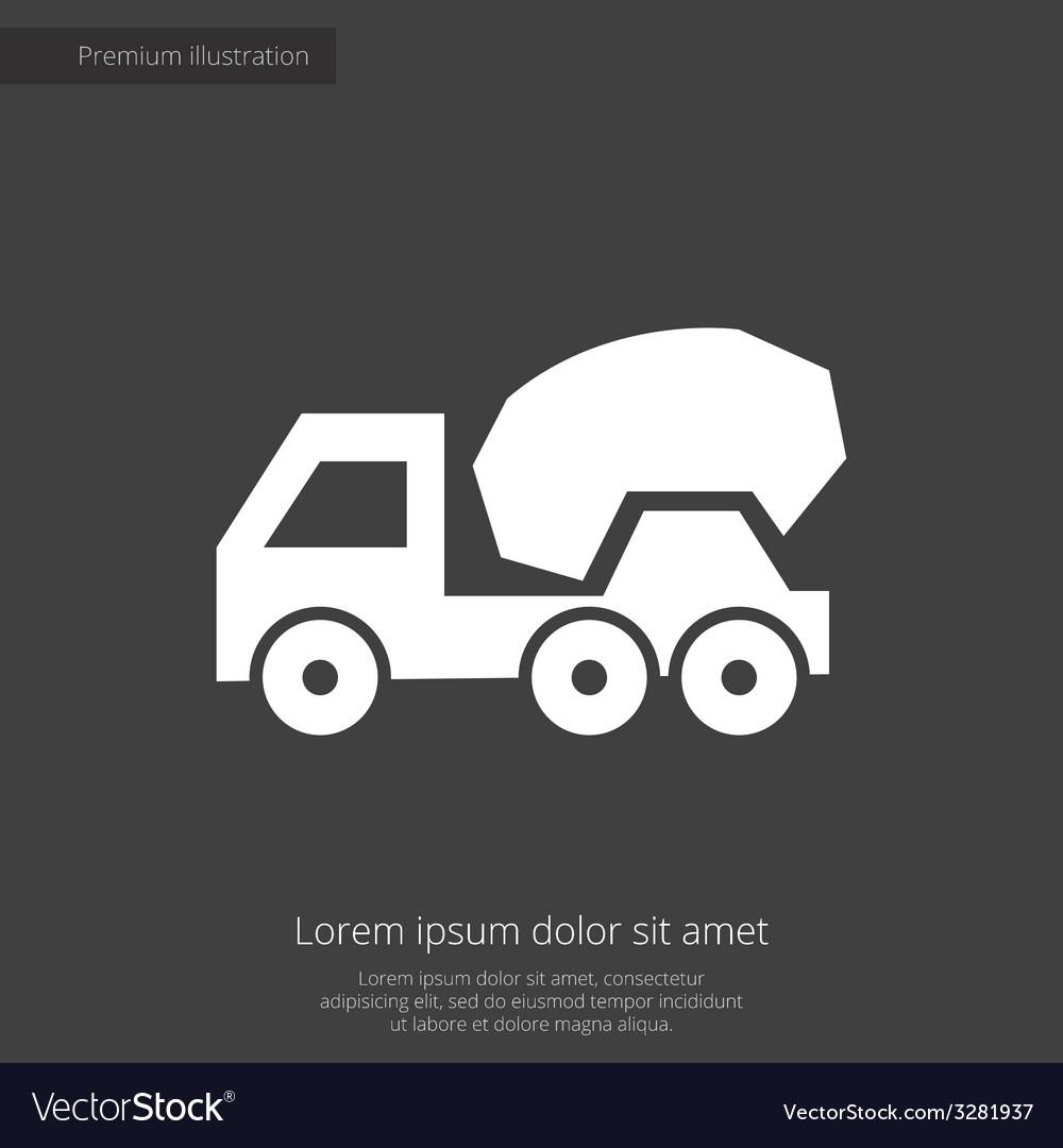 Concrete mixer premium icon white on dark backgrou vector | Price: 1 Credit (USD $1)