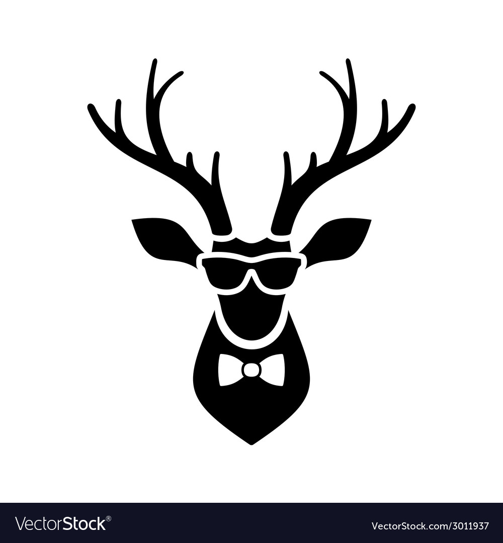 Deer head icon with hipster sunglasses and bow tie vector | Price: 1 Credit (USD $1)