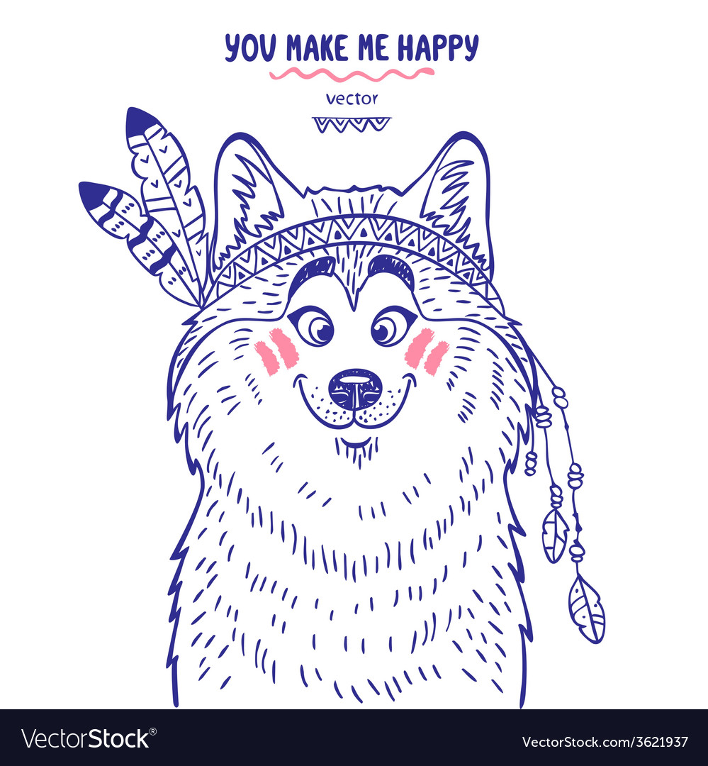 Husky cute vector | Price: 1 Credit (USD $1)