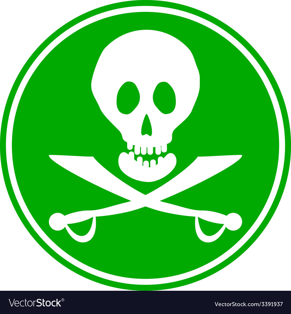 Jolly roger sign button vector | Price: 1 Credit (USD $1)