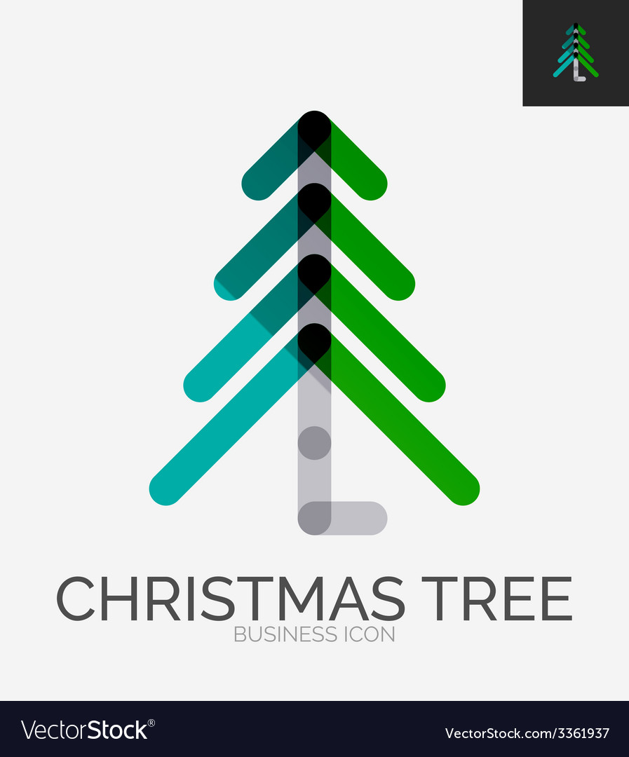 Minimal line design logo christmas tree icon vector | Price: 1 Credit (USD $1)