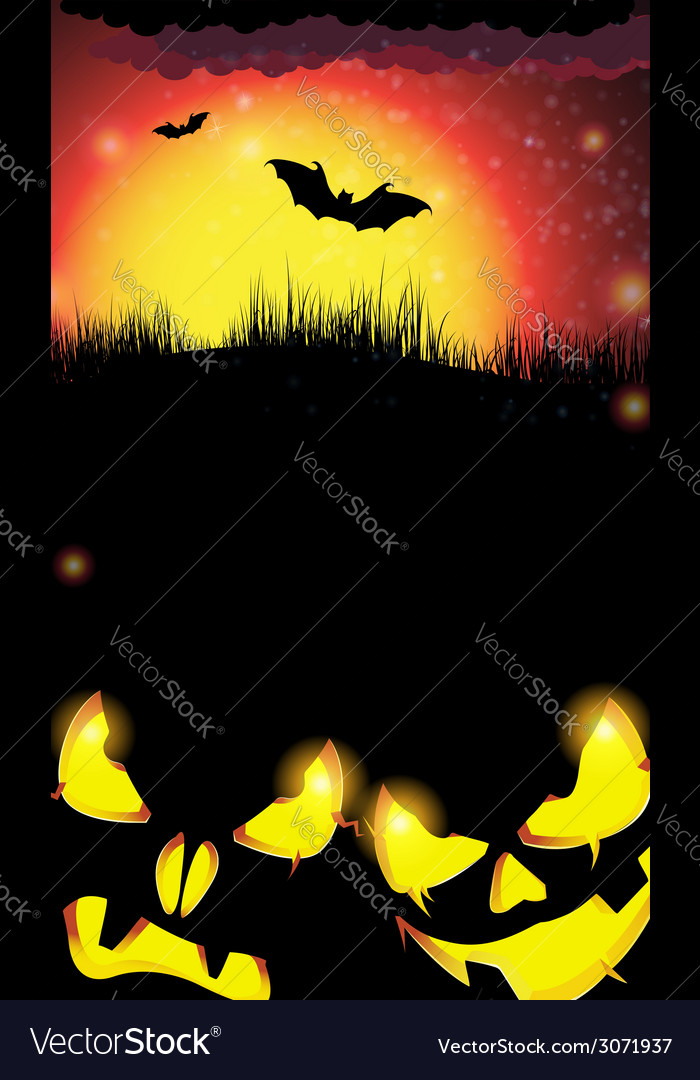 Night pumpkin monsters with glowing eyes vector | Price: 1 Credit (USD $1)