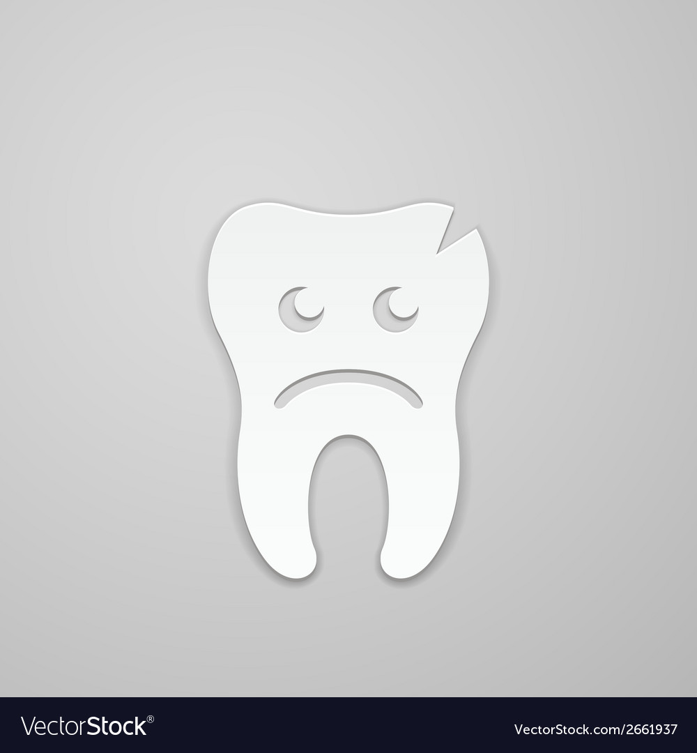 Sad tooth whith fissure vector | Price: 1 Credit (USD $1)