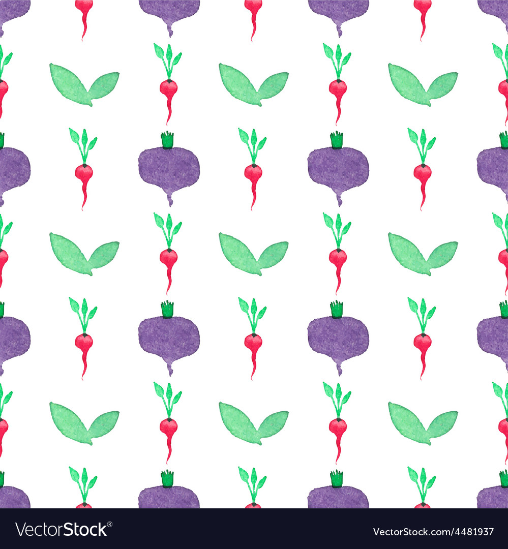 Seamless watercolor pattern with beetroot and vector | Price: 1 Credit (USD $1)
