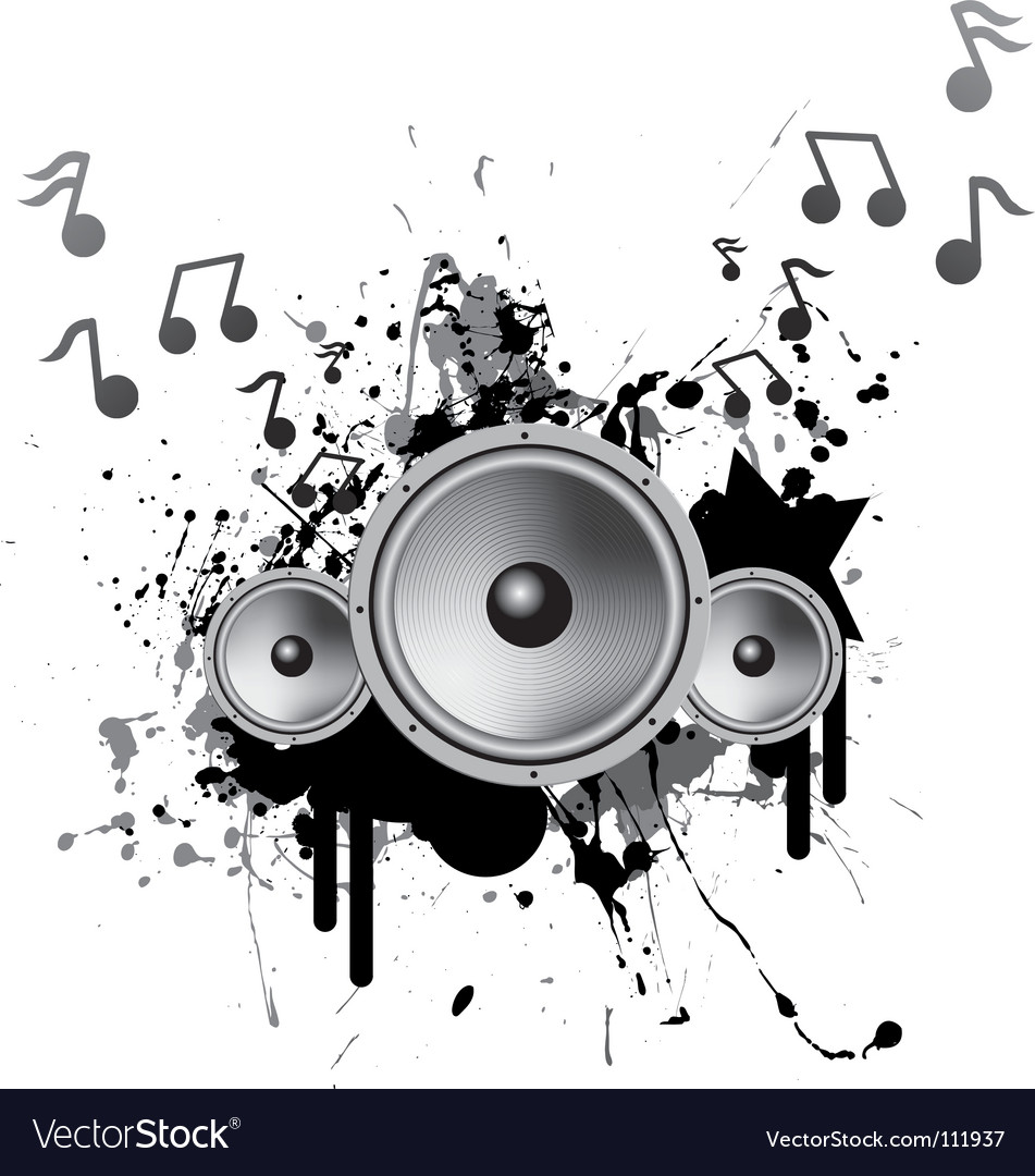 Speakers playing music vector | Price: 1 Credit (USD $1)