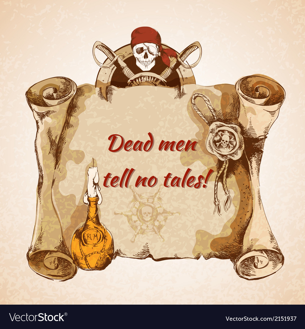 Vintage pirates background vector | Price: 1 Credit (USD $1)