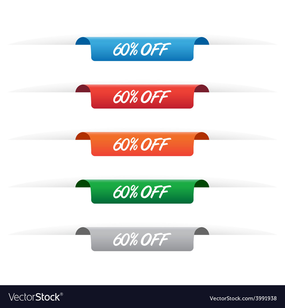 60 percent off paper tag labels vector | Price: 1 Credit (USD $1)