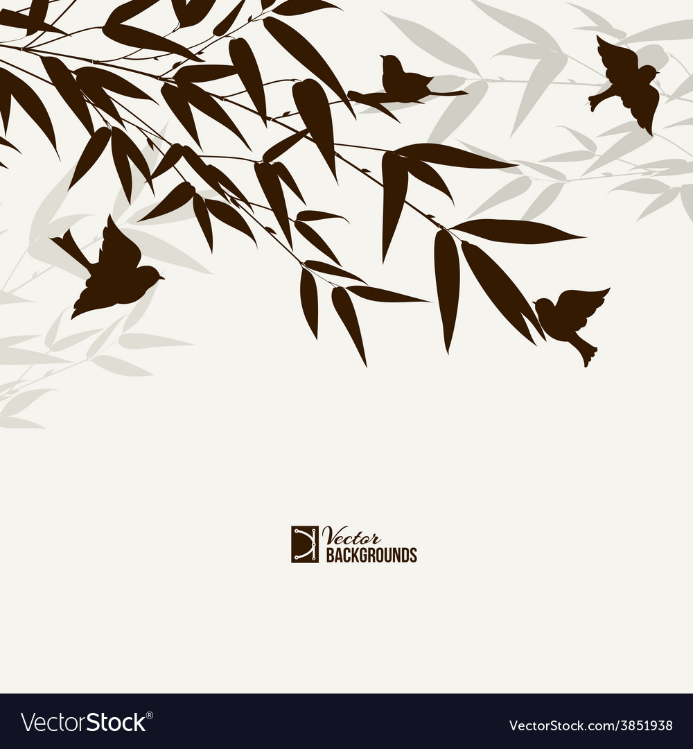 Bamboo bush with birds vector | Price: 1 Credit (USD $1)
