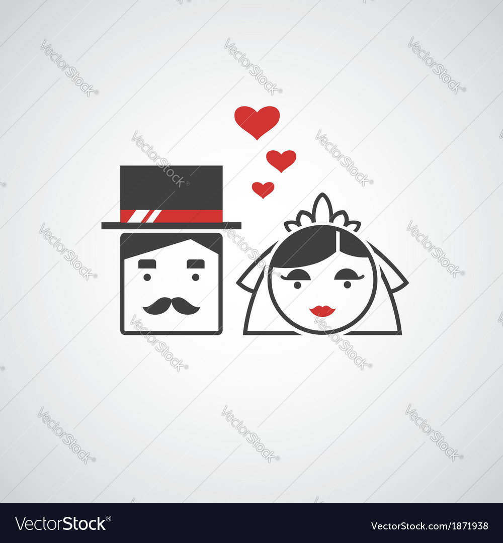 Bride and groom icons vector | Price: 1 Credit (USD $1)