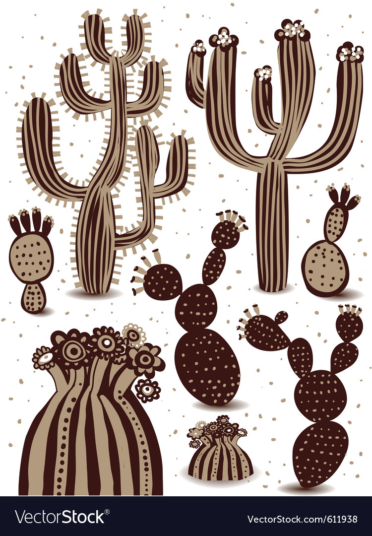Cactus icon set vector | Price: 1 Credit (USD $1)