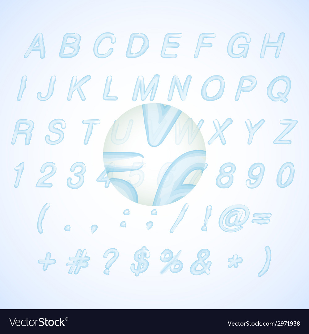 Calligraphic blue watercolor alphabet vector | Price: 1 Credit (USD $1)