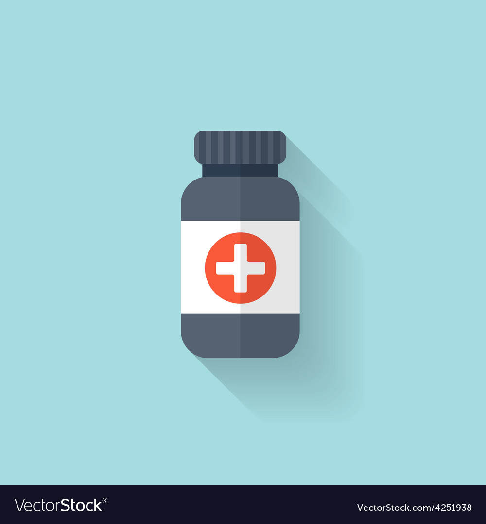 Flat bottle with medical pills icon tablets vector | Price: 1 Credit (USD $1)