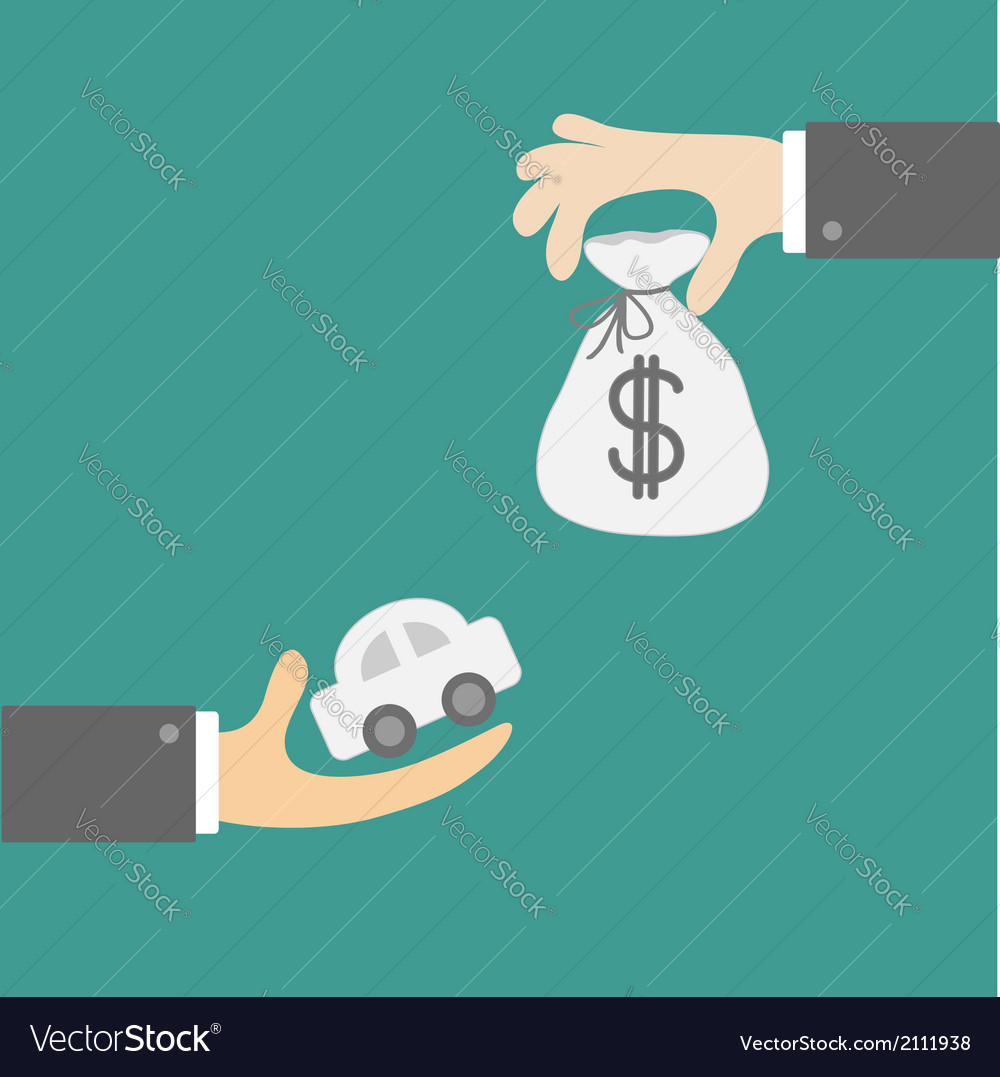 Hands with car and money bag exchanging concept vector | Price: 1 Credit (USD $1)