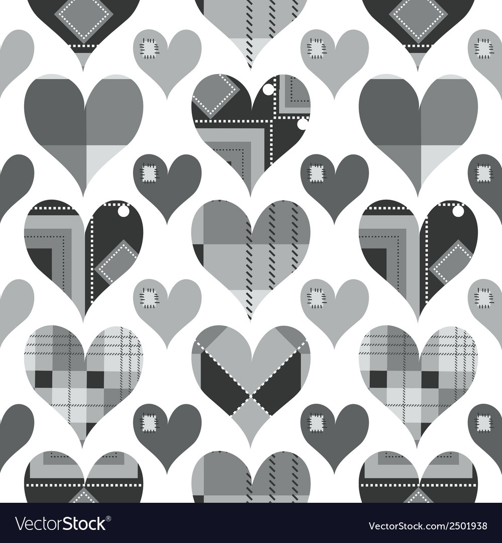 Hearts seamless pattern black and white with grey vector | Price: 1 Credit (USD $1)