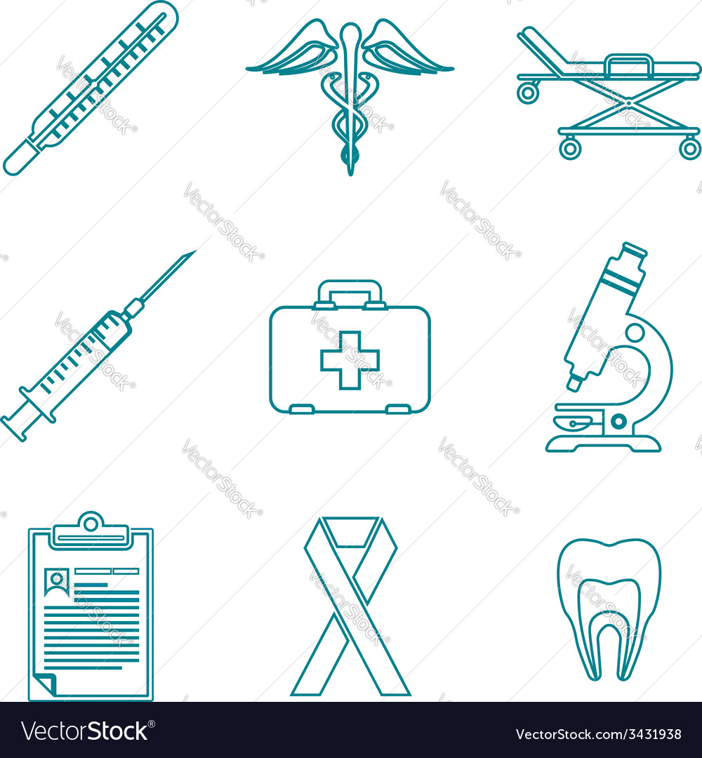 Outline medical icons set vector | Price: 1 Credit (USD $1)