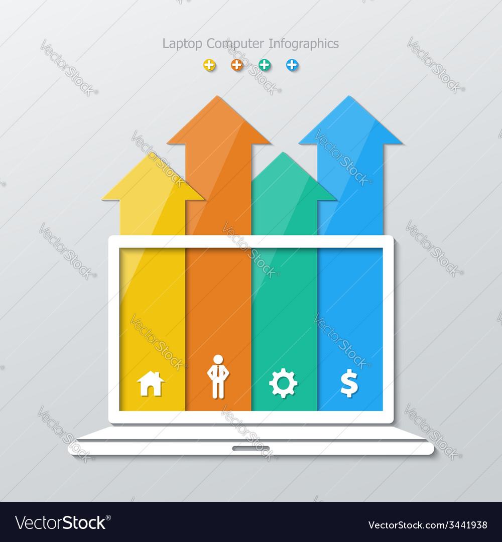 Paper laptop computer infographics vector | Price: 1 Credit (USD $1)