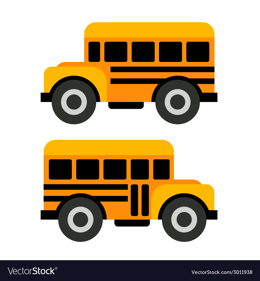 School bus icons in flat style vector | Price: 1 Credit (USD $1)