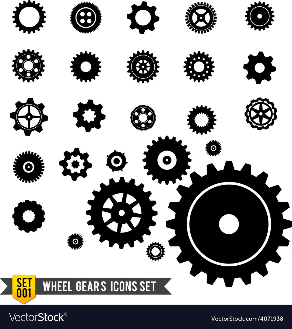 Set of circle wheel gear icon vector | Price: 1 Credit (USD $1)