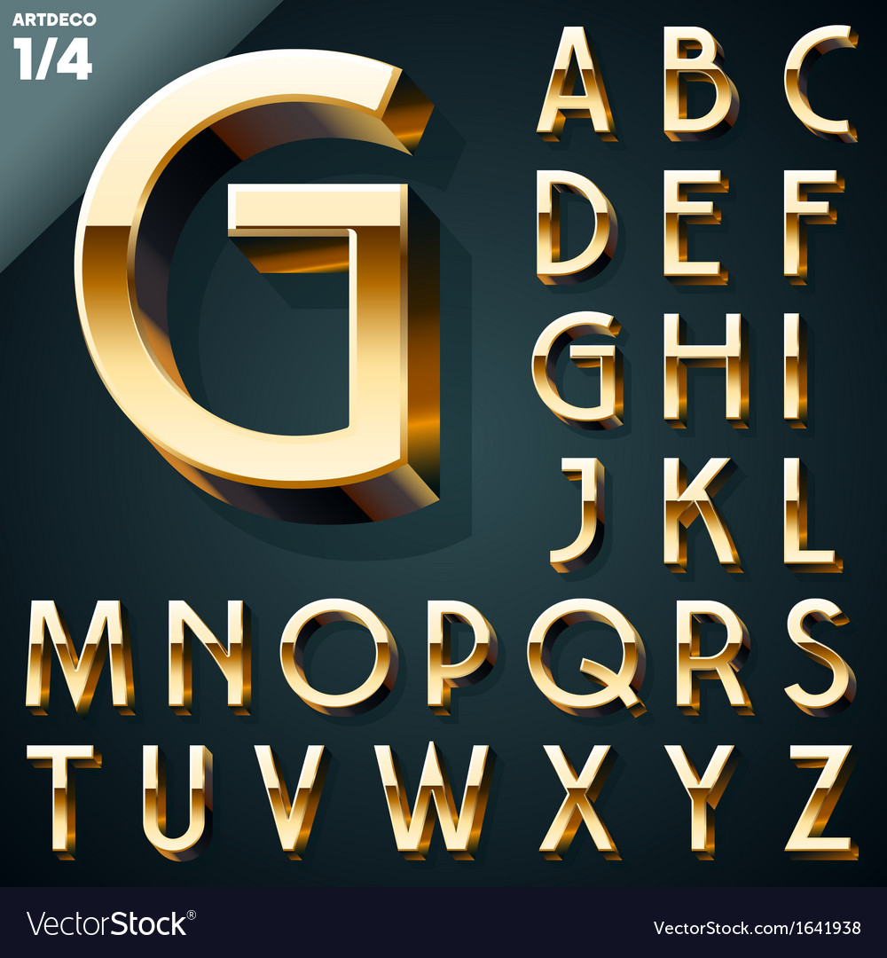 Set of golden 3d alphabet vector | Price: 1 Credit (USD $1)