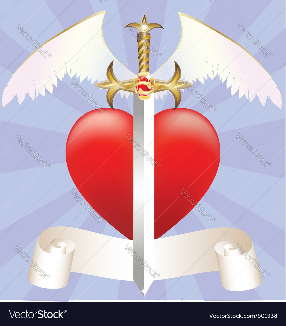Sword and heart vector | Price: 1 Credit (USD $1)