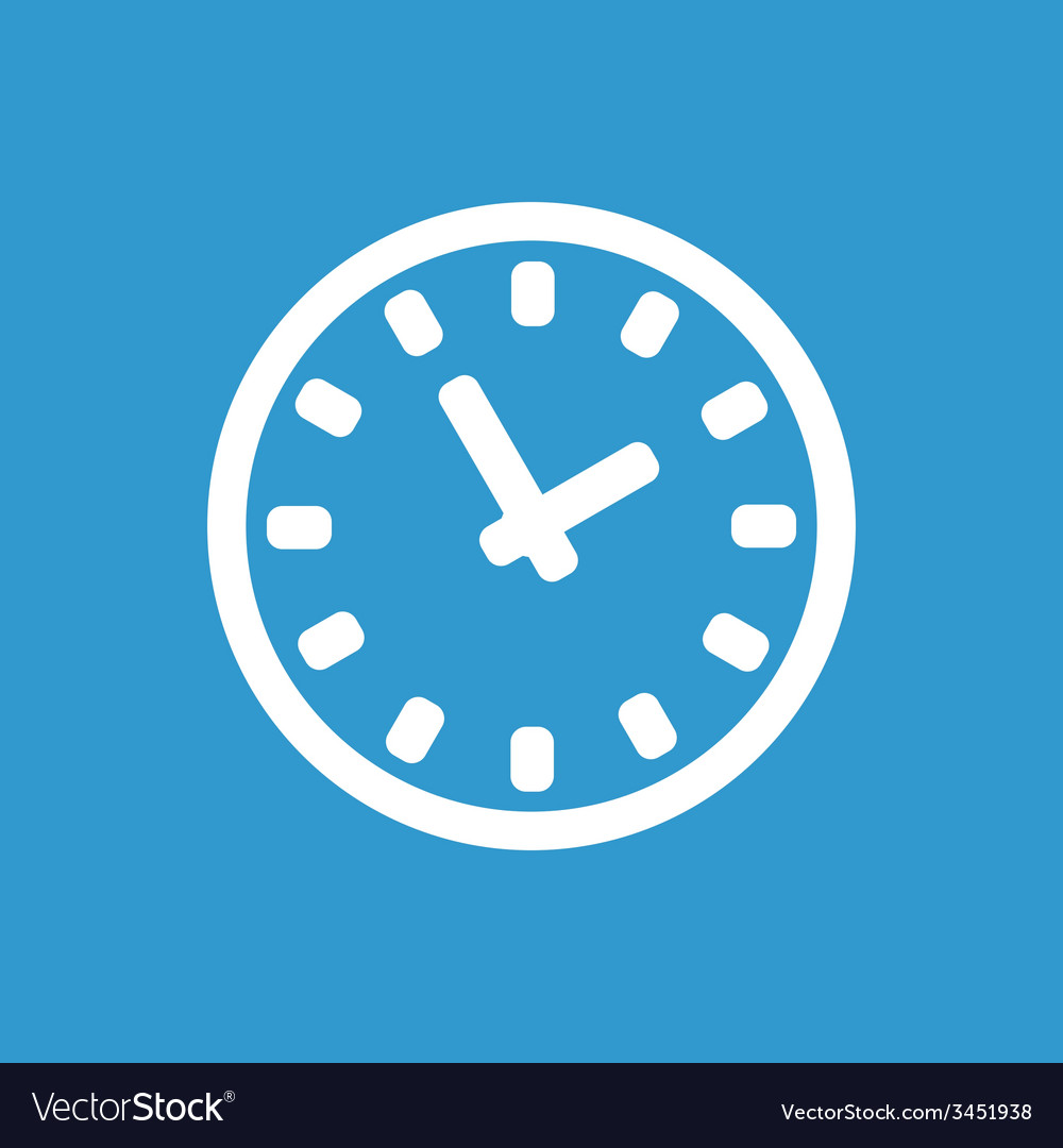 Time icon white on the blue background vector | Price: 1 Credit (USD $1)