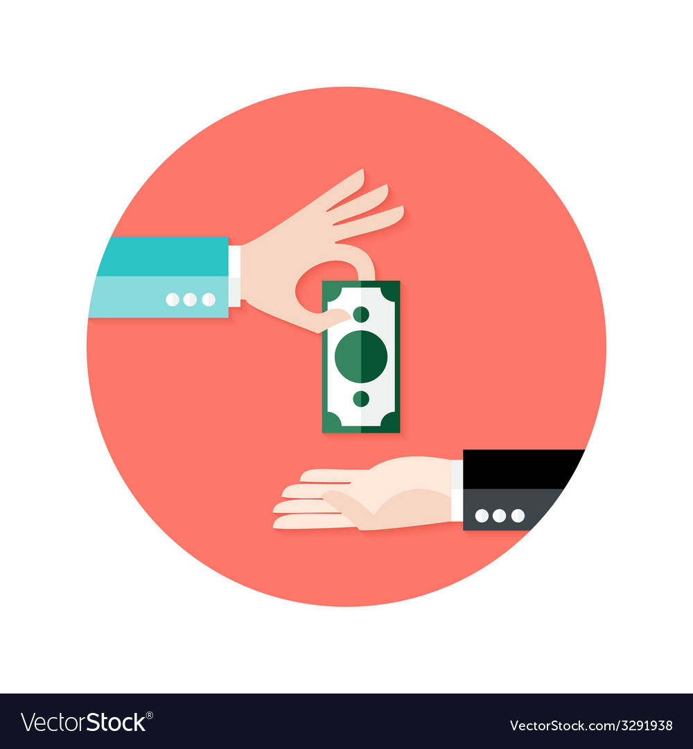 Two businessmen money payment circle flat icon vector | Price: 1 Credit (USD $1)
