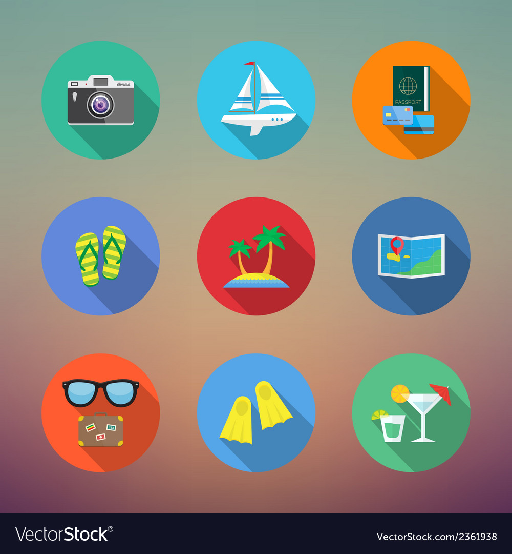 Vacation or travelling flat style icon set with vector | Price: 1 Credit (USD $1)