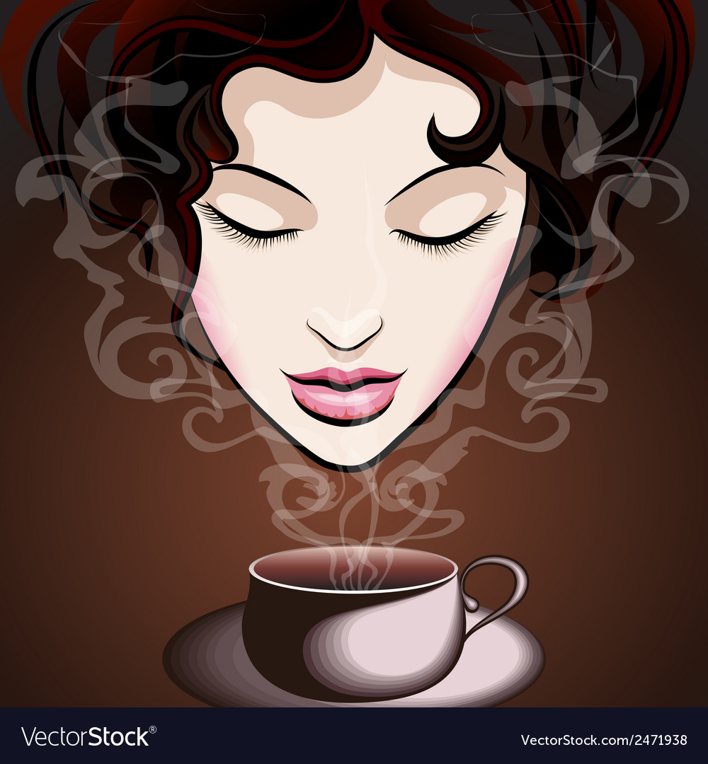 Woman enjoying coffee vector | Price: 1 Credit (USD $1)