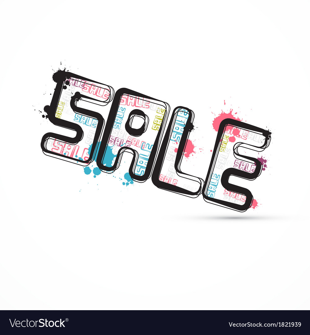 Abstract grunge sale title with splashes blots vector | Price: 1 Credit (USD $1)