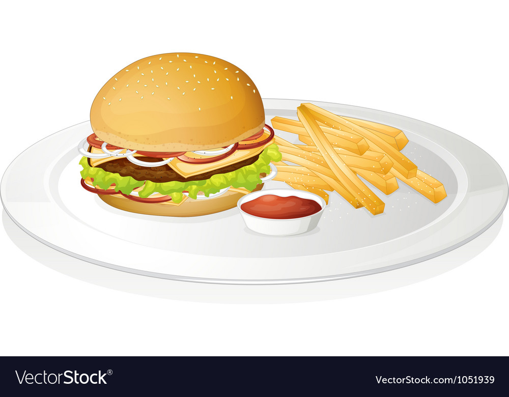 Burger french fries and sauce vector | Price: 1 Credit (USD $1)