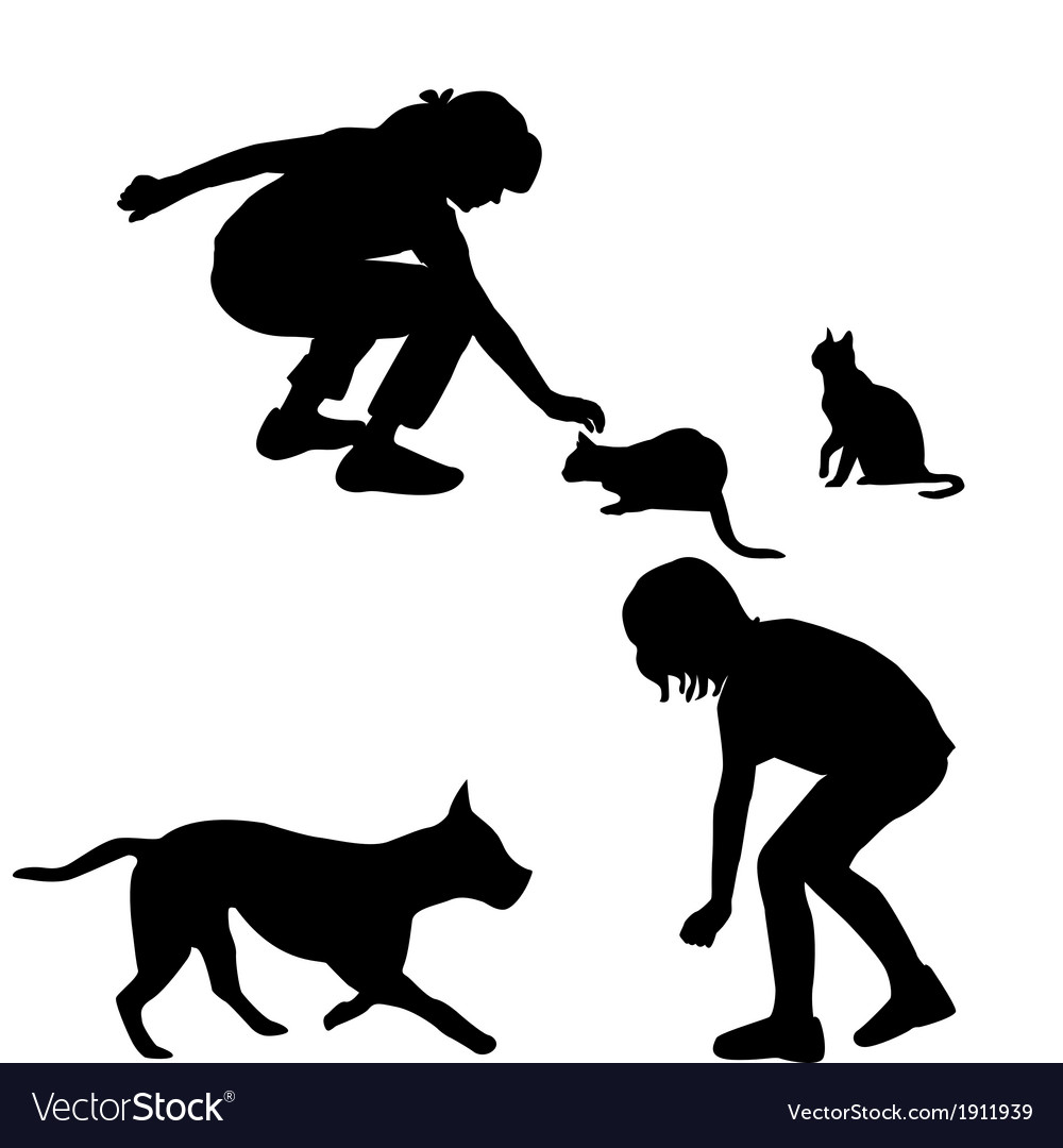 Children silhouettes playing with pets vector | Price: 1 Credit (USD $1)