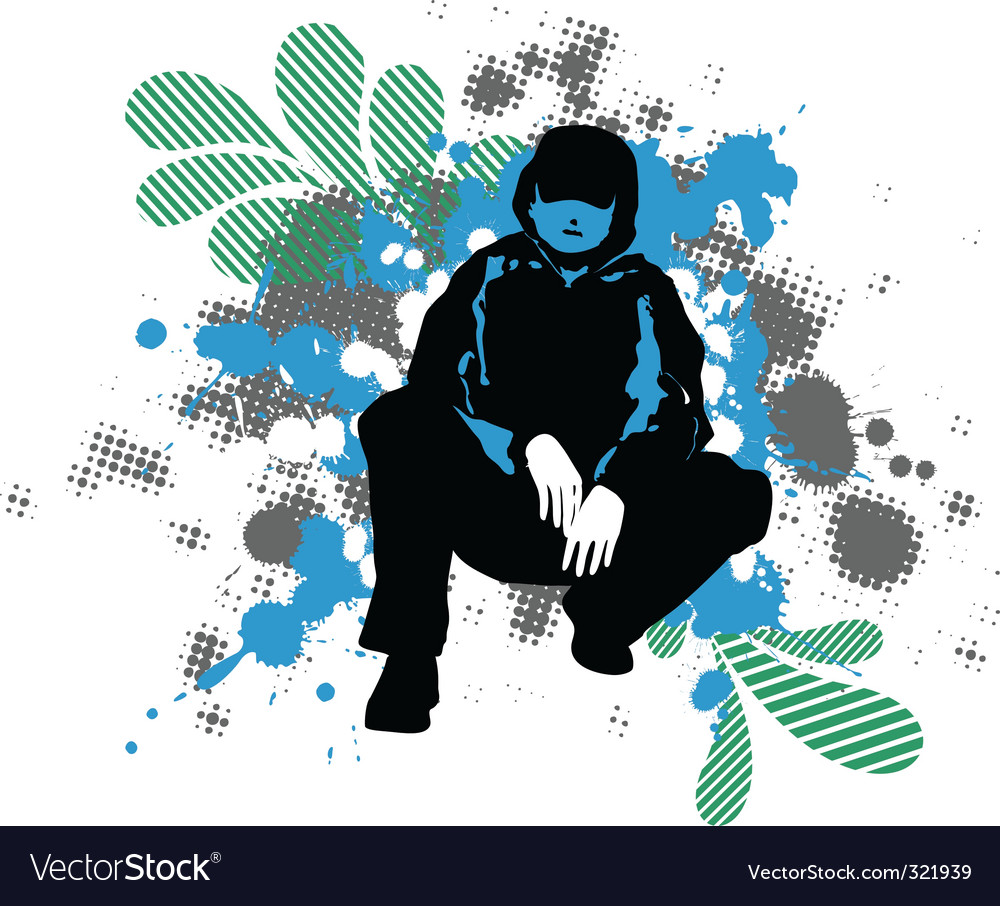 Grunge man silhouette vector | Price: 1 Credit (USD $1)
