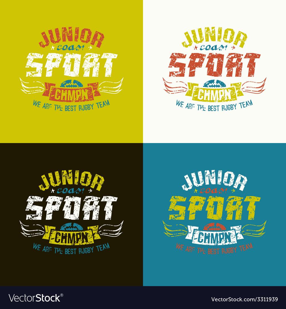 Junior rugby team emblem vector | Price: 1 Credit (USD $1)