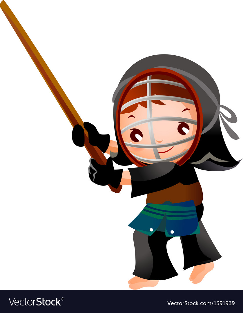 Portrait of a girl in kendo fencer vector | Price: 3 Credit (USD $3)